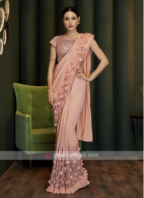 peach ready pleated party wear saree