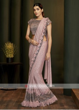 beautiful ready pleated pink saree