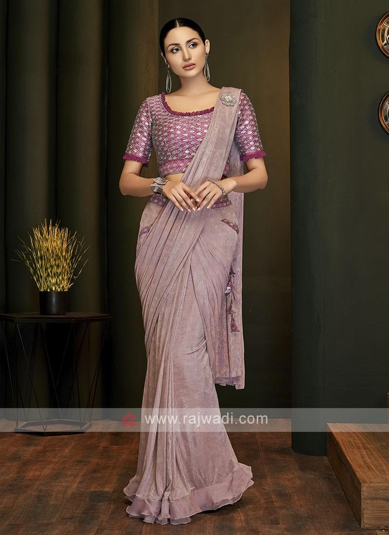 Beautiful ready pleated pink saree