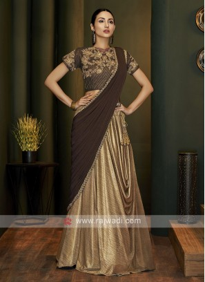 Designer beige colour saree