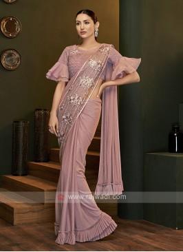 Party wear pink saree