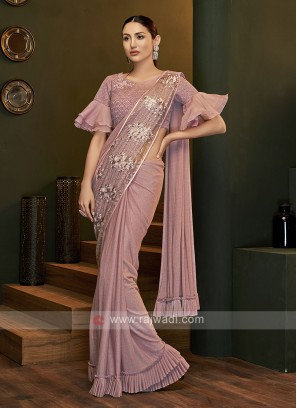 Party wear pink saree