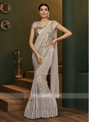 Beautiful ready pleated light grey saree