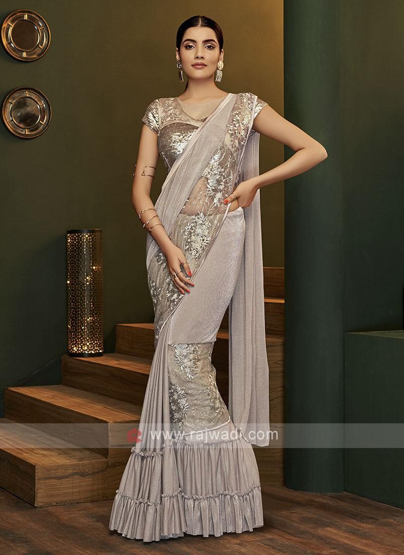 Beautiful ready pleated light grey saree