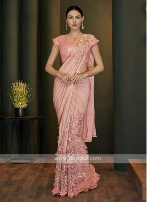 Designer ready pleated pink saree