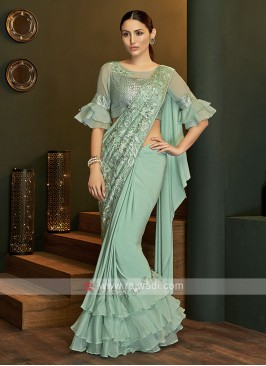 Designer lycra sea green saree