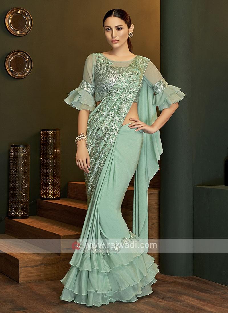Designer lycra sea green saree