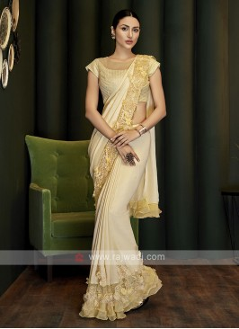 Yellow georgette ready pleated saree