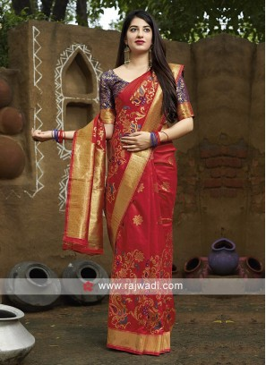 Beautiful Red Banarasi Silk Saree