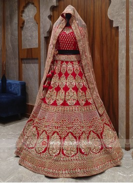 beautiful red bridal lehenga choli