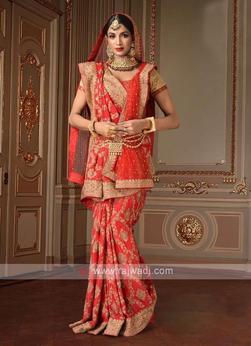 beautiful red color saree