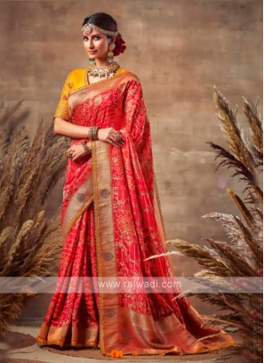 Beautiful Red Color Bandhani Saree