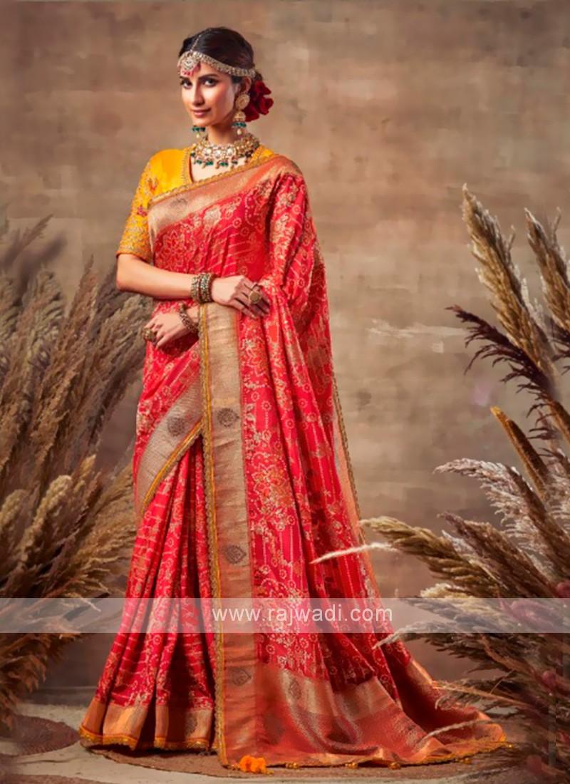 Beautiful Red Color Bandhani Saree