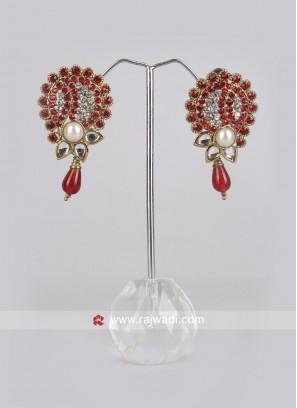 Beautiful Red Diamond Work Earrings