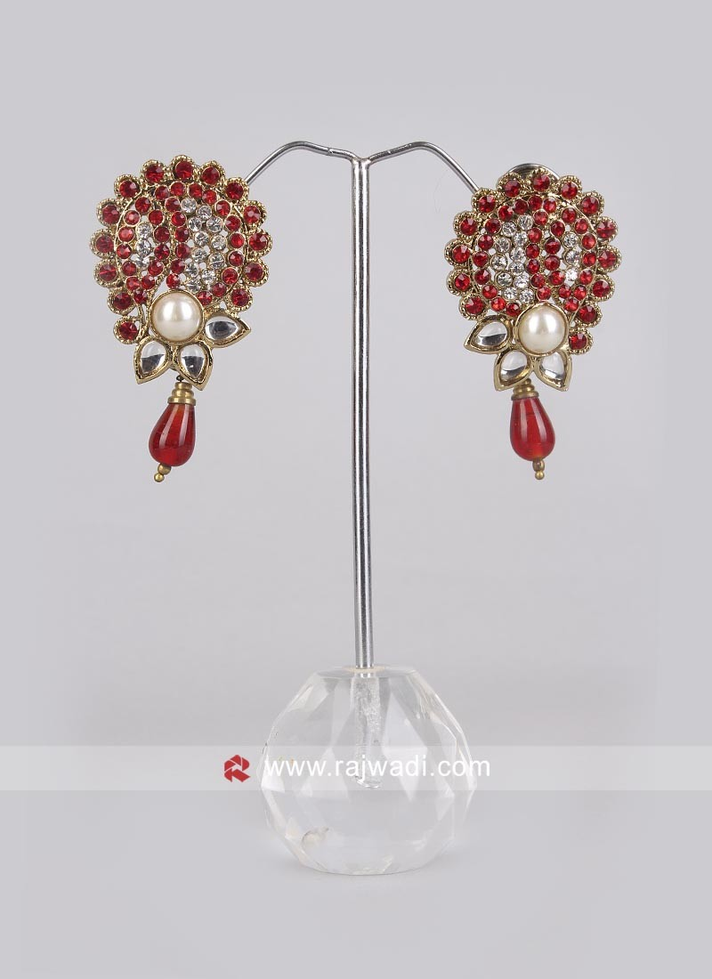 Beautiful Red Diamond Work Earrings