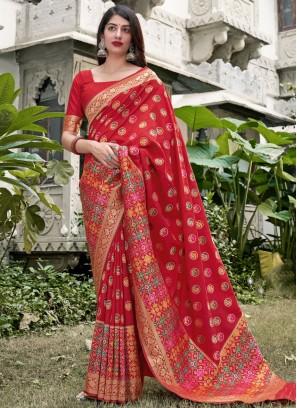 Beautiful Red Silk Traditional Saree