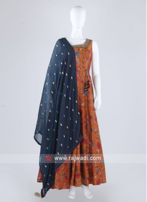 Beautiful Rust Color Anarkali Suit