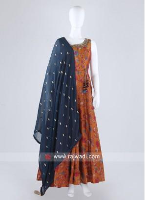 Beautiful Rust Color Anarkali Suit
