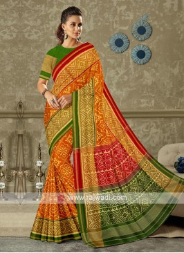 Beautiful rust color pure silk saree