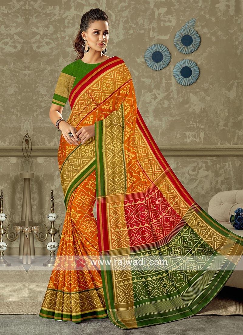 Beautiful rust color pure silk saree