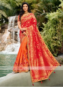 Beautiful Saree In Red And Orange