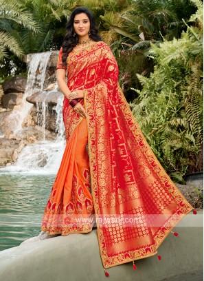 Beautiful Saree In Red And Orange