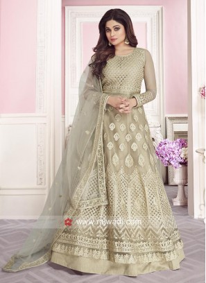 Beautiful Shamita Shetty in Beige Anarkali Suit