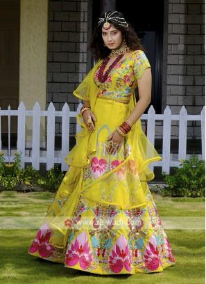 Beautiful Silk Choli Suit In Yellow