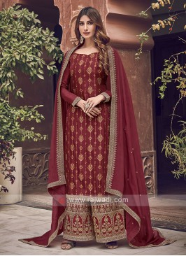 Beautiful Silk Maroon Dress Material