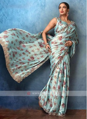 Beautiful sky blue color saree