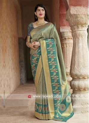 Beautiful Teal Banarasi Silk Saree