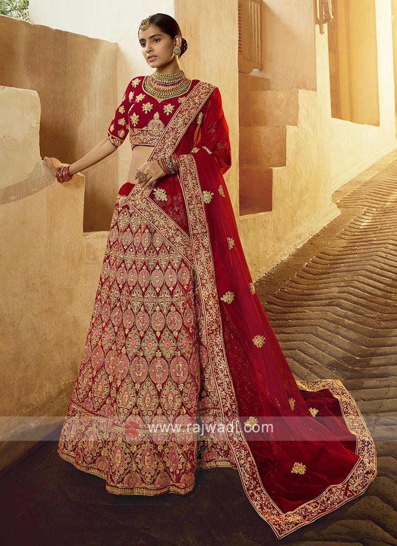 Beautiful Velvet Lehenga Choli In Red