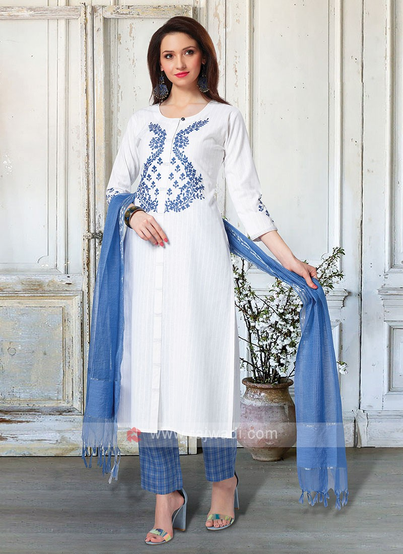Beautiful White & Blue Pant Style Suit