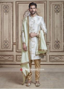 Beautiful White Sherwani With Dupatta