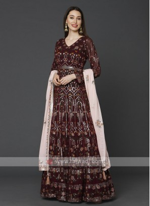 Beautiful Wine Color Anarkali Suit