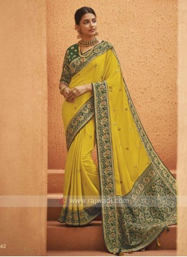 Beautiful yellow color saree