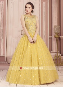 Beautiful Yellow Mirror Work Gown