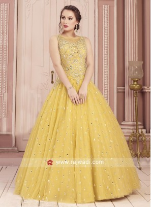 Beautiful Yellow Mirror Work Gown