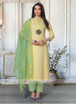 Beautiful Yellow & Pista Green Salwar Suit