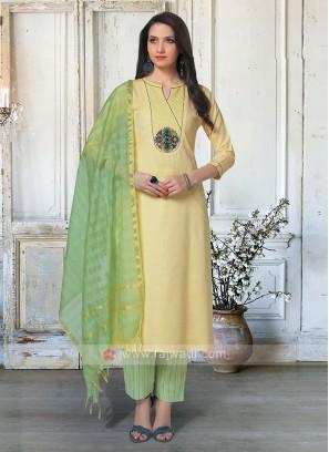 Beautiful Yellow & Pista Green Salwar Suit