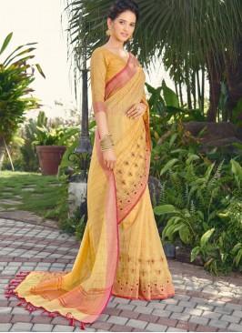 Beckoning Mustard Embroidered Traditional Saree
