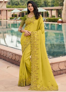 Bedazzling Georgette Embroidered Green Classic Saree