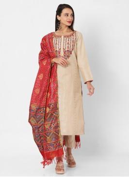 Chanderi Fabric Beige Color Pant Style Suit