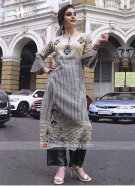 Beige and black color kurti set