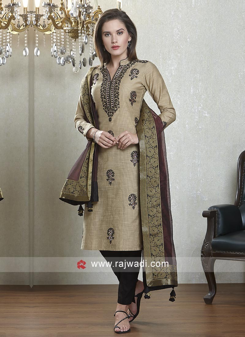 Beige and black salwar suit with dupatta