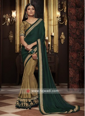 Beige and Dark Green Half n Half Saree