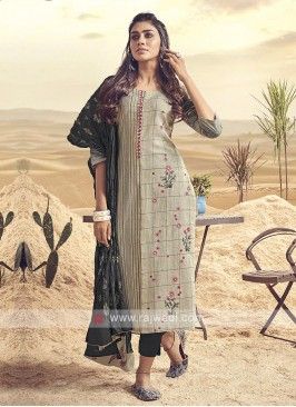 Shagufta Beige And Dark Grey Cotton Pant Salwar Suit