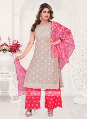 Beige And Gajari Pink Color Palazzo Suit