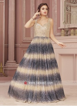Beige and Grey Sequins Work Designer Gown