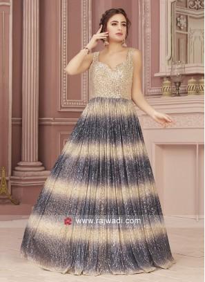 Beige and Grey Sequins Work Designer Gown
